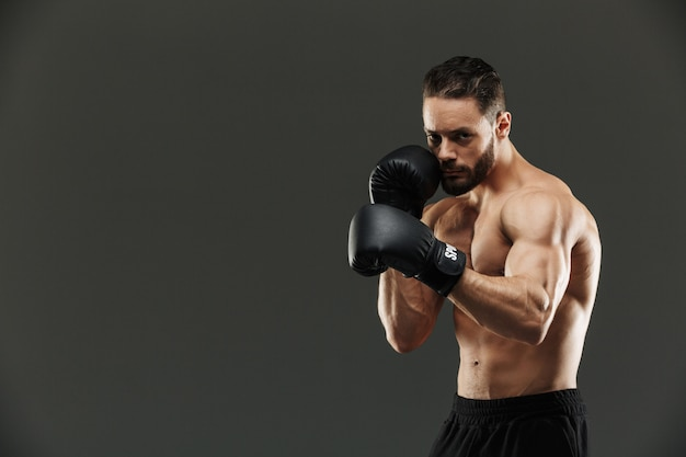 Portrait of a concentrated muscular sportsman boxing