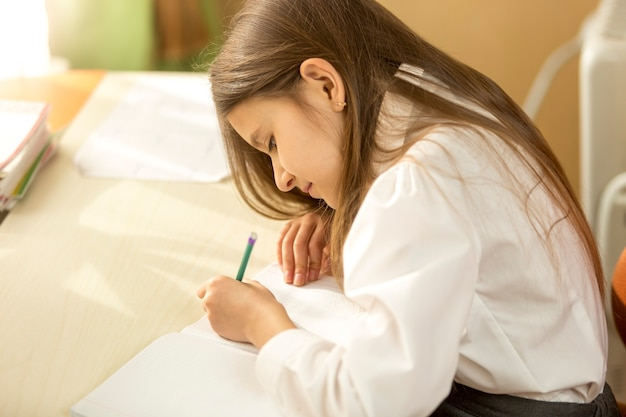 Portrait of concentrated schoolgirl doing homework at home