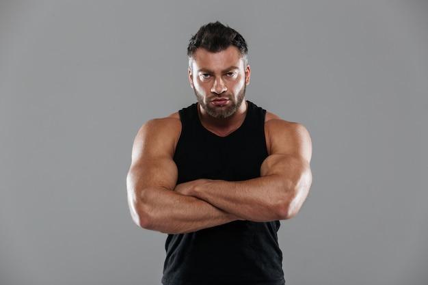Portrait of a confident strong male bodybuilder