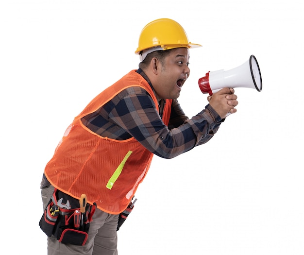 Portrait of constructor scream with megaphone