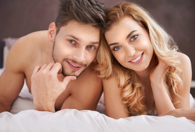 Portrait of couple in the bed