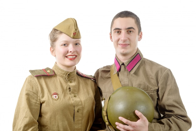 Portrait couple in russian military uniform