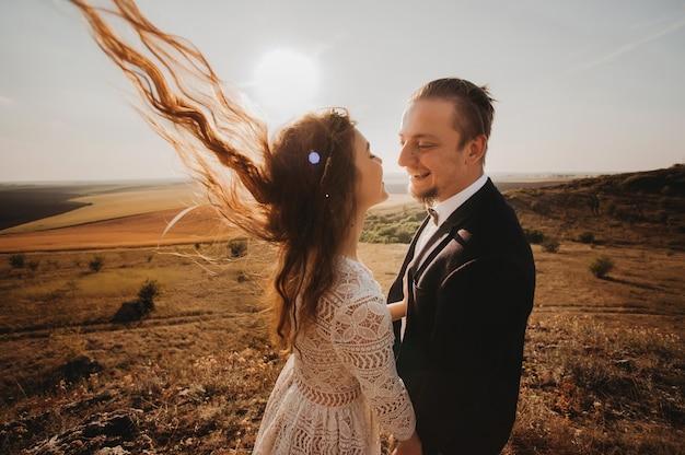 Portrait couples, tenderness love nature, mountains
