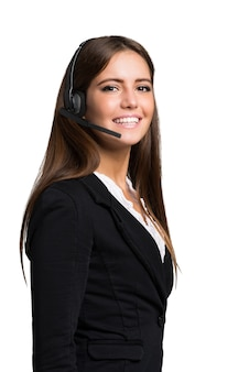 Portrait of a customer representative. isolated on a white background