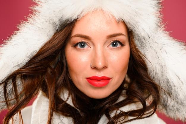 Portrait of cute female winter model
