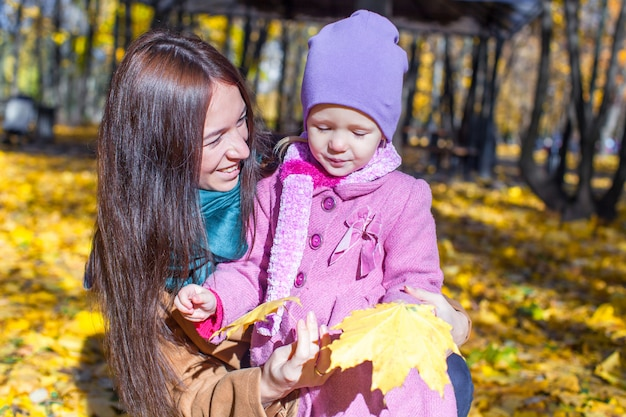 Portrait of cute girl and happy mother in yellow autumn forest on a warm sunny day