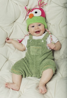 Portrait of cute happy 5 month old baby