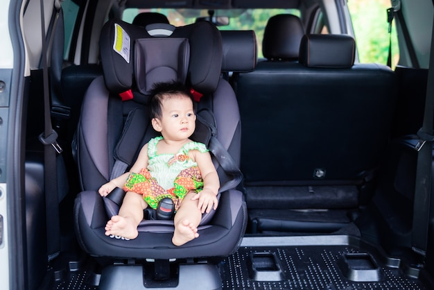 Portrait of cute little baby child sitting in car seat. child transportation safety