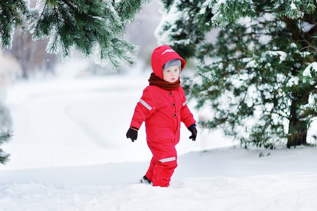 Portrait of cute little boy in red winter clothes having fun with snow. active outdoors leisure with children in winter. kid with warm hat, hand gloves and scarf