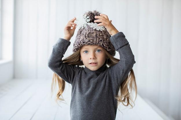 Portrait of cute little girl model posing fashion