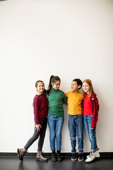 Portrait of cute little kids in jeans  looking at camera and smiling, standing against the white wall