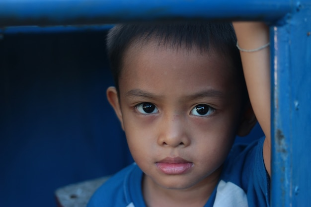 Portrait of a cute young asian kid in thailand