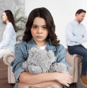 Portrait of daughter sad for family breakup