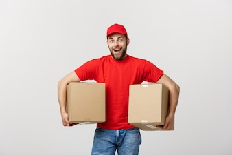 Portrait delivery man in cap with red t-shirt working as courier or dealer