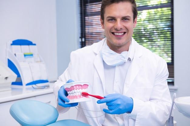 Portrait of dentist brushing dental mold