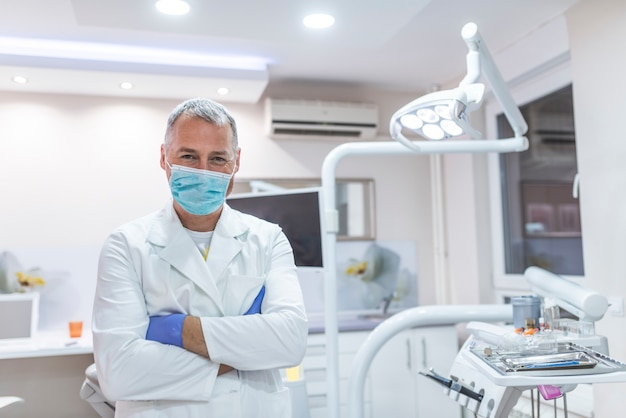 Portrait of a dentist in mask during the dental surgery.