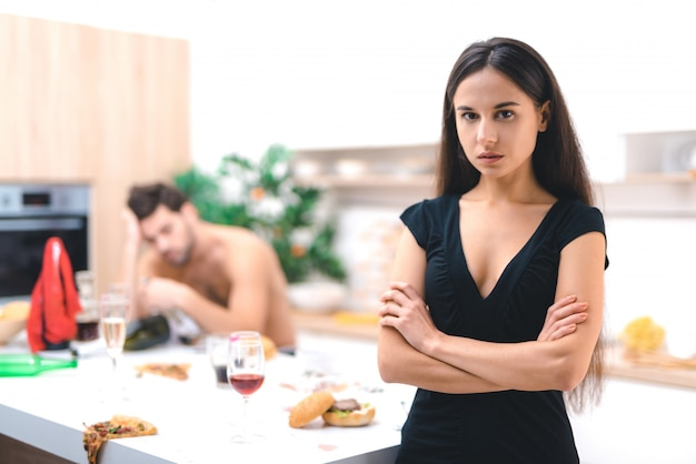 Portrait disappointed wife thinking about betrayal