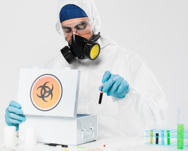 Portrait of doctor taking medical samples