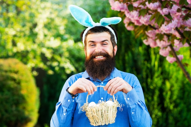 Portrait of easter man hunting eggs