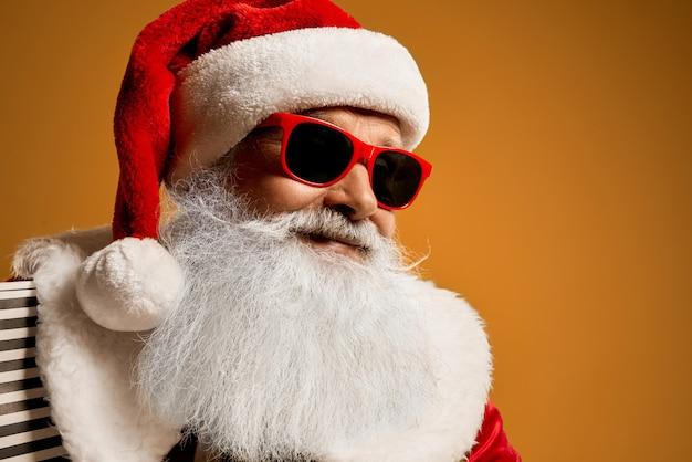 Portrait of elder saint nicholas in red sunglasses