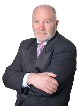 Portrait of an elderly businessman on background