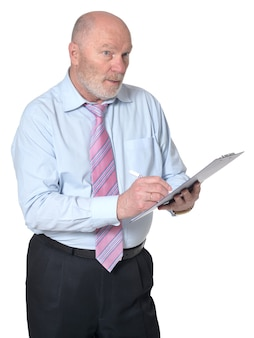 Portrait of an elderly businessman with clipboard