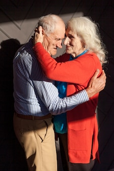Portrait of elderly couple in love