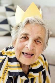 Portrait of elderly grandmother smiling