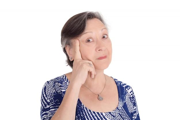 Portrait of eldery woman thinking