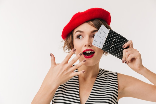Portrait of an excited woman wearing red beret