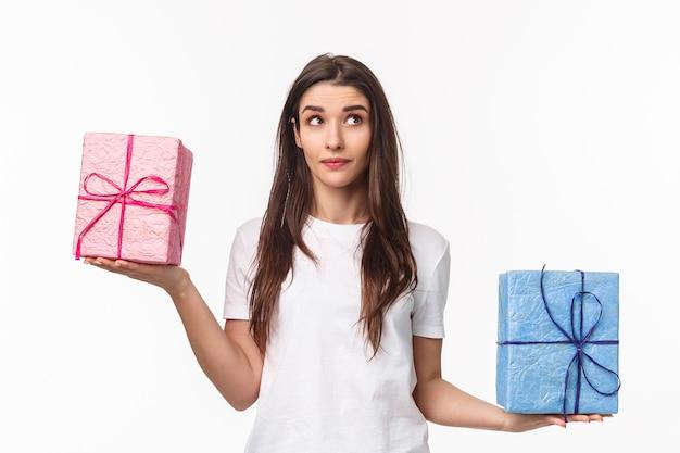 선물을 들고 초상화 표현 젊은 여자