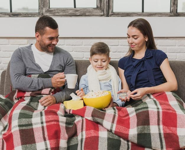 Portrait of family cozy indoor