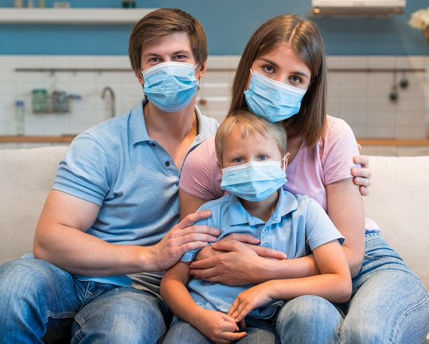 Portrait of family wearing face masks