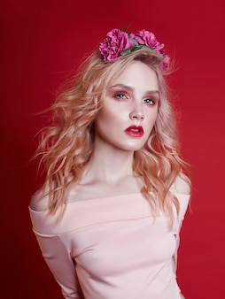 Portrait fashion beautiful blonde woman makeup