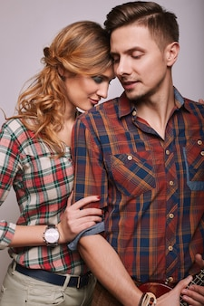 Portrait of fashion glamor stylish hipster young couple