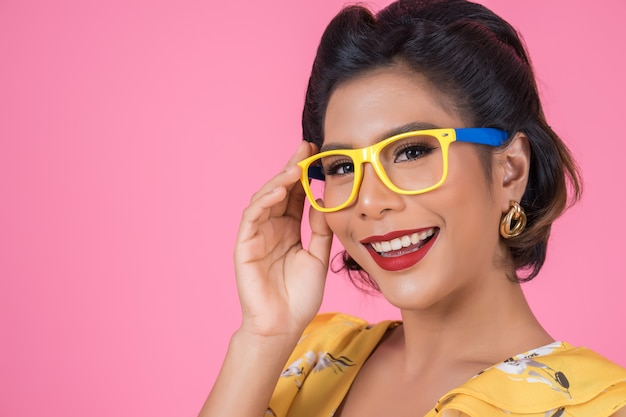 Portrait of fashion woman action with sunglasses