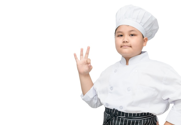 Portrait of fat boy chef cook showing ok sign with cook hat and apron isolated on a white background