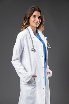 Portrait female doctor with stethoscope