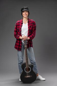 Portrait female guitarist
