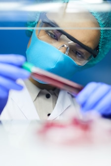 Portrait of female scientist holding test tube with blood sample while working on research in laboratory, copy space