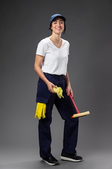 Portrait female window cleaner