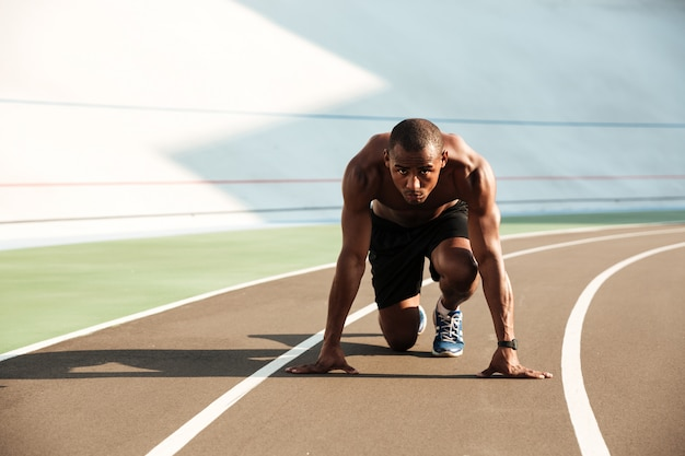 Portrait of a fit athletic afro american sportsman