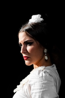 Portrait of flamenca with black background