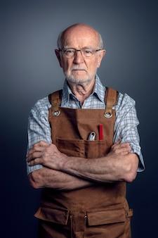 Portrait fo old carpenter