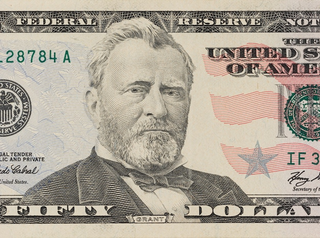 Portrait of former u.s. president ulysses grant. macro from 50 dollars
