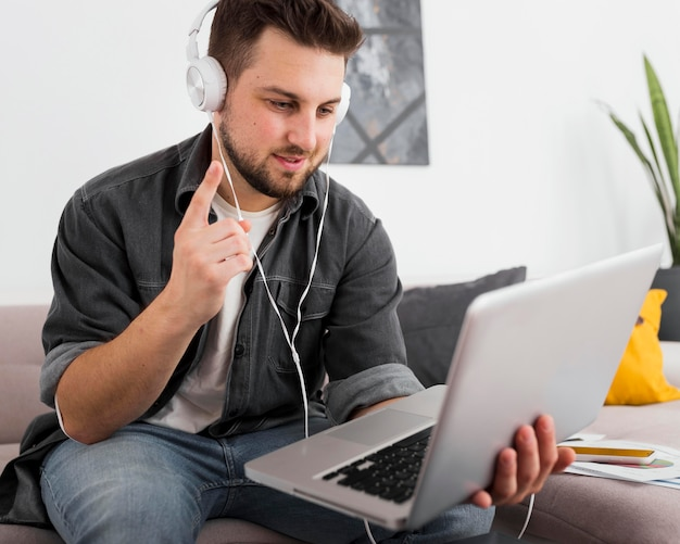 Portrait of freelancer video conferencing