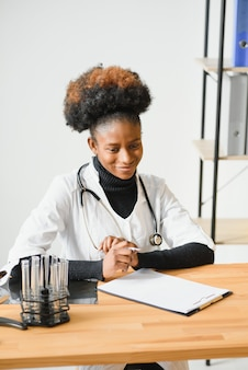 Portrait of a friendly black female doctor