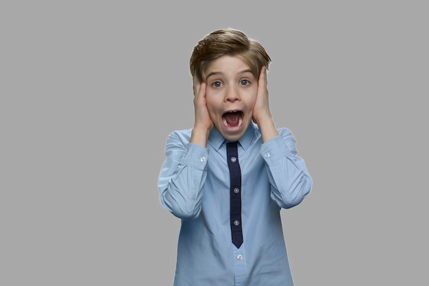Portrait of frightened child boy. shocked scared little boy screaming against gray background. human expression of fear.