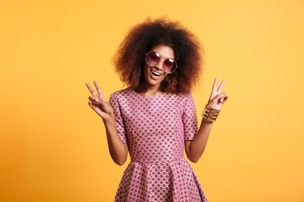 Portrait of a funny afro american woman in retro style