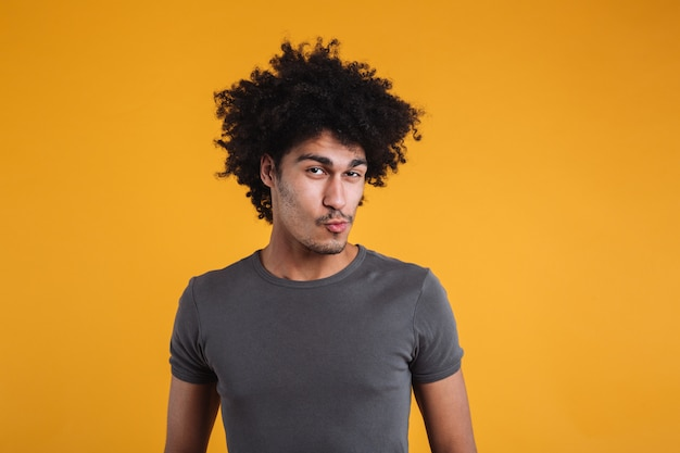 Portrait of a funny young afro american man